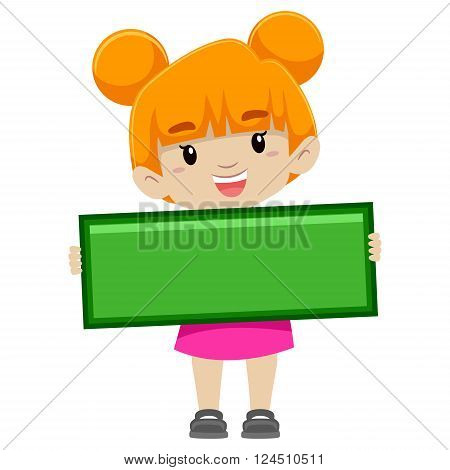 Vector Illustration of a Girl holding Subtraction Symbol