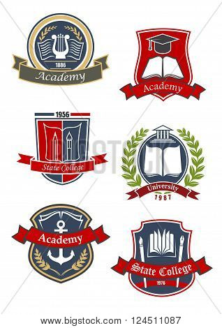 Education heraldic emblems and icons for university, college and academy with books and pens, paint brushes, greek lyre and temple building, marine anchor and graduate cap on shields, supplemented by ribbon banners and lautel wreathes