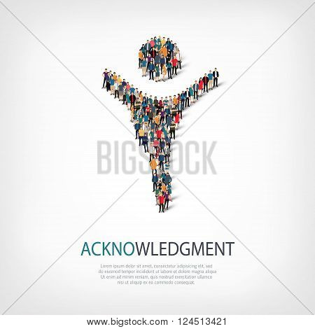 Isometric set of styles, acknowledgement sign , web infographics concept  illustration of a crowded square, flat 3d. Crowd point group forming a predetermined shape. Creative people. - Vector Illustration. Stock vector.