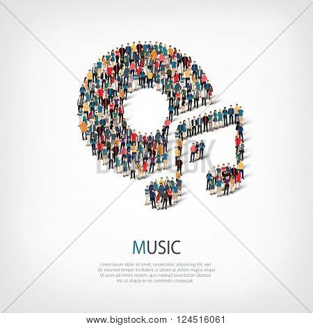 Isometric set of styles, music , web infographics concept  illustration of a crowded square, flat 3d. Crowd point group forming a predetermined shape. Creative people. - Vector Illustration. Stock vector.
