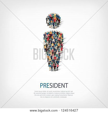 Isometric set of styles, president , web infographics concept  illustration of a crowded square, flat 3d. Crowd point group forming a predetermined shape. Creative people. - Vector Illustration. Stock vector.