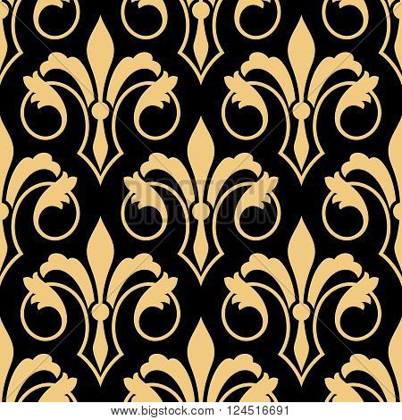 Seamless golden heraldic floral pattern with stylized retro fleur-de-lis ornament on black background. Luxury royal pattern for interior or textile, wallpaper or scrapbook page design