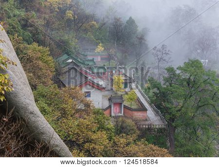 Mount Huang Shan with Fog in winter