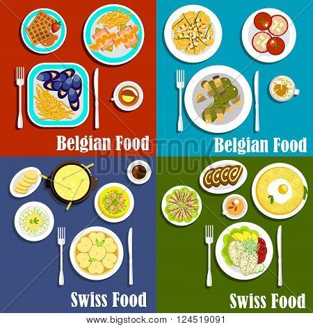Traditional potato, seafood and cheese dishes of swiss and belgian cuisine with popular desserts such as waffles, chocolate swiss rolls and apple tart, served with coffee and tea drinks