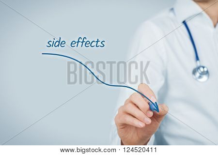 Medical side effects concept. Doctor practitioner draw descending graph of the side effects of pharmaceuticals.
