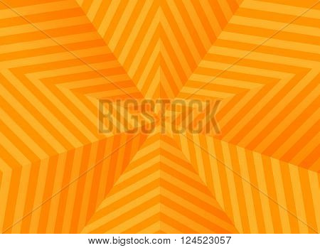 A lot of abstract bright orange stars, striped background