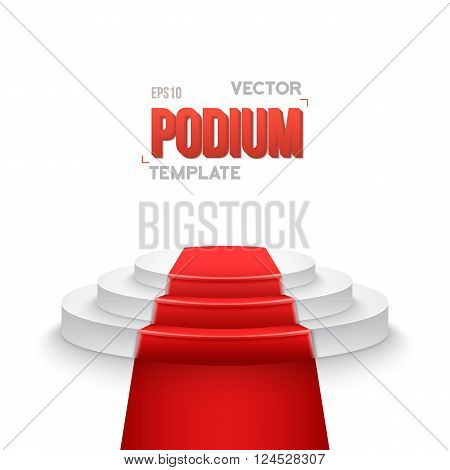Illustration of Photorealistic Winner Podium Stage with Stage Lights and Red Carpet Isolated on White Background. Used for Product Placement, Presentations, Contests