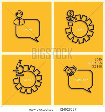 Vector support, business grown, research, partnership in flat style - signs and banner. Gray stylish linear icons with shadow on dark yellow background, vector.