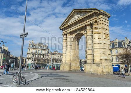 Bordeaux France - March 26 2016. People walking near to Porte d'Aquitaine (local name) Aquitaine gate at Place de la Victoire. Bordeaux France.