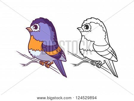 Cute little brambling. Cartoon vector character isolated on a white background with black outline.