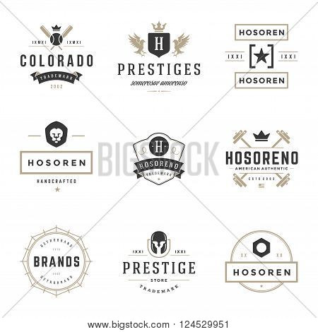 Vintage Logos Design Templates Set. Vector design elements, Logo Elements, Logo symbols, Logo Icons, Logo Vector, Symbols Design, Retro Logos. Star Logo, Lion Head Logo, Ornament Logo, Crown Logo.