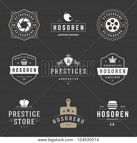 Vintage Logos Design Templates Set. Vector design elements, Logo Elements, Logo symbols, Logo Icons, Logo Vector, Symbols Design, Retro Logos. Photo Logo, Eagle Head Logo, Bakery Logo, Crown Logo.