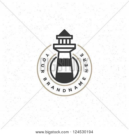 Lighthouse Design Element in Vintage Style for Logotype, Label, Badge, T-shirts and other design. Retro vector illustration. Lighthouse Silhouette, Retro Logo.