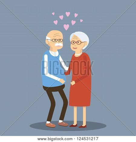 Senior couple in love. Elderly people together. Older man and woman hugging. An elderly couple are happy together. Romantic date elderly couple. Vector flat illustration.