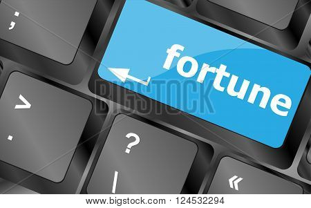 Fortune For Investment Concept With A Orange Button On Computer Keyboard