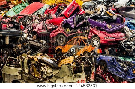 cars on junkyard