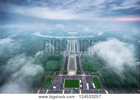 Luzhniki sport complex and cloiudy sky at summer morning in Moscow, Russia, view from MSU