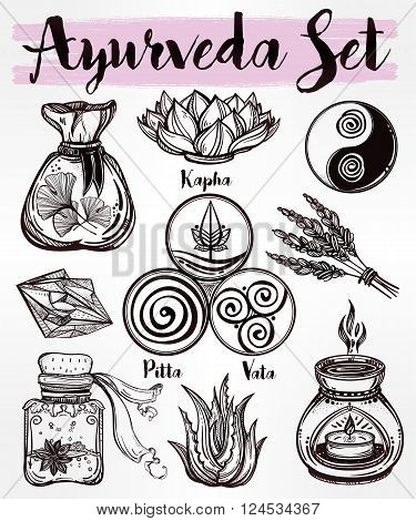 Hand drawn natural Auyrveda healthcare and treatment concept set. Isolated illustration in vector. Organic plants, alternative medicine background. Natural holistic ingredients. Template.