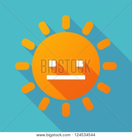 Long Shadow Sun With A Emotionless Text Face