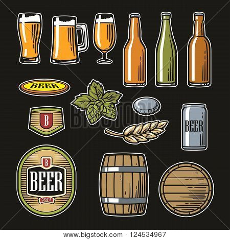 Beer vector flat icons set - bottle glass barrel pint barle malt cover label. Color orange green Vintage illustration. For Emblem Logo web info graphic