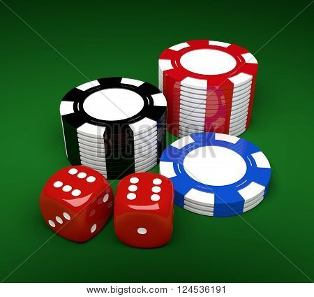 3d game dices and gambling chips lying on green desk