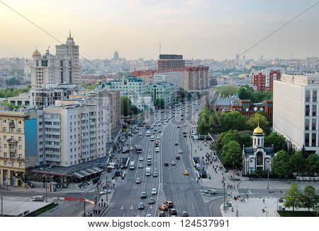 Yakimanka Street with moving cars at spring evening in Moscow, Russia
