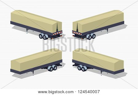 Trailer with the tarpaulin tent. 3D lowpoly isometric vector illustration. The set of objects isolated against the white background and shown from different sides