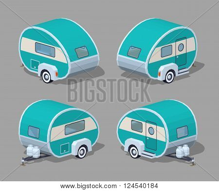 Turquoise retro motor home. 3D lowpoly isometric vector illustration. The set of objects isolated against the grey background and shown from different sides