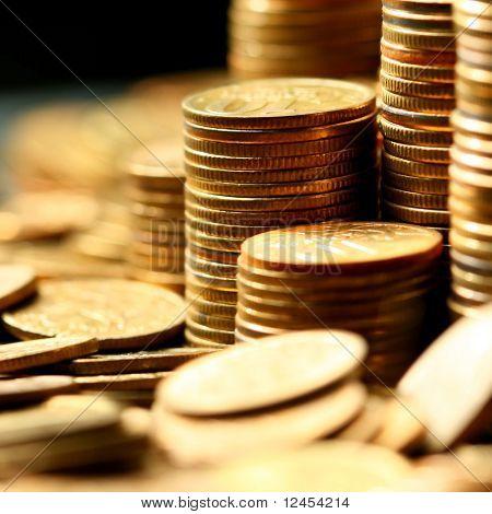 coins macro close up