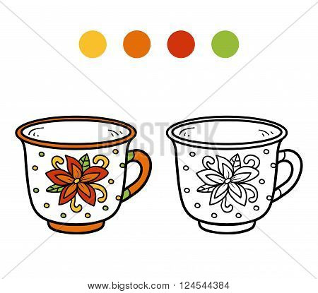 Coloring Book For Children. A Mug With Flower