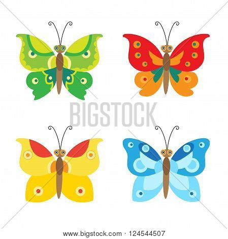 Butterfly Vector Set Icons. Set Of Simple Flying Butterfly. Vector Butterfly. Colorful Butterfly Set. Cartoon Butterfly For Children. Flying Butterfly Toy. Flying Butterfly Tattoo. Butterfly As Toy.