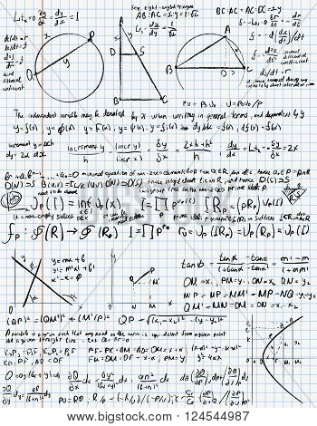 Mathematical trigonometry algebra formulas on  exercise book page,  vector background