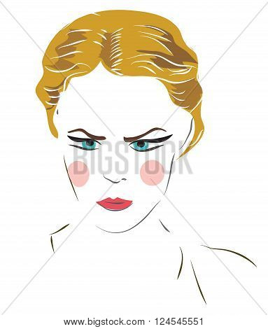 Angry Girl Face. Woman with mad expression