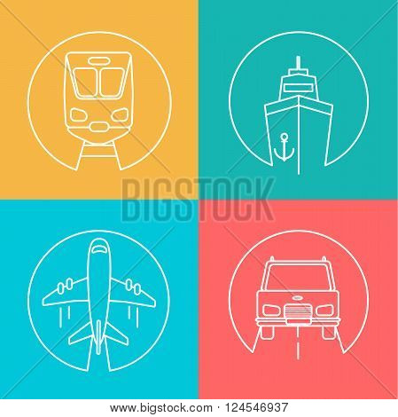 Freight business, express send and deliver autline logo, vector illustration. Flying airplane, Train, Ship and Car.
