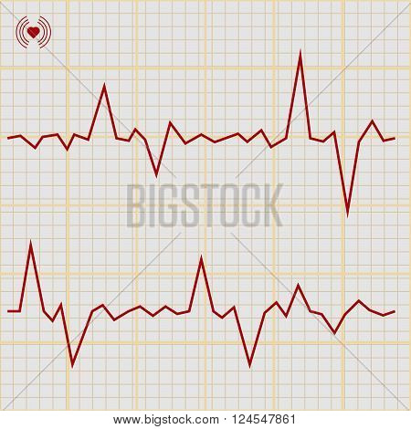 Vector Set of various cardiogram design elements. Cardiogram lines of healthy heart and heart stop 1