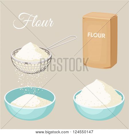 Flour set. Flour sifter, package of flour, bowl. Baking and cooking Ingredients. Healthy organic food. Flour cartoon vector. Dough cooking. Organic product. Flour set illustration. Kitchen utensils.