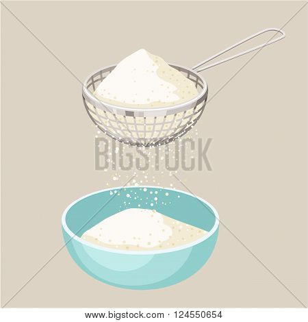 Flour sifter. Sieve the flour and a cup. Sift flour. Baking and cooking Ingredients. Healthy organic food. Flour sifter cartoon vector. Kitchen utensils. Dough cooking. Organic product.