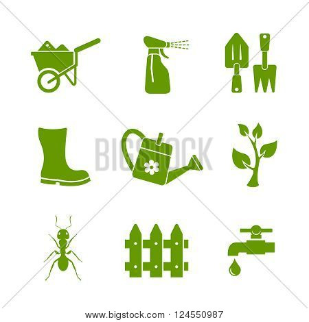 Gardening and farm icons. Editable vector set