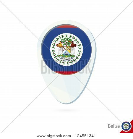 Belize Flag Location Map Pin Icon On White Background.