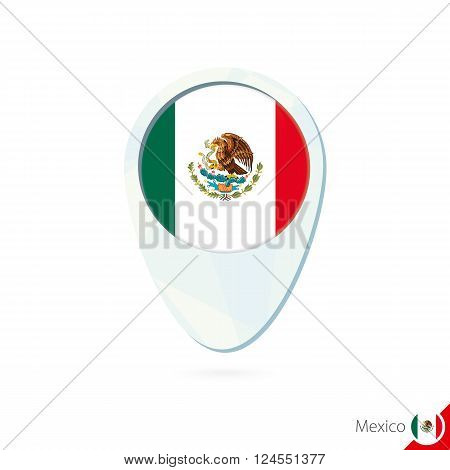 Mexico Flag Location Map Pin Icon On White Background.