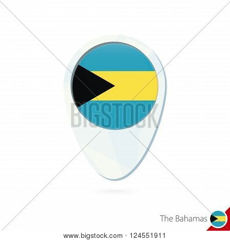 The Bahamas Flag Location Map Pin Icon On White Background.