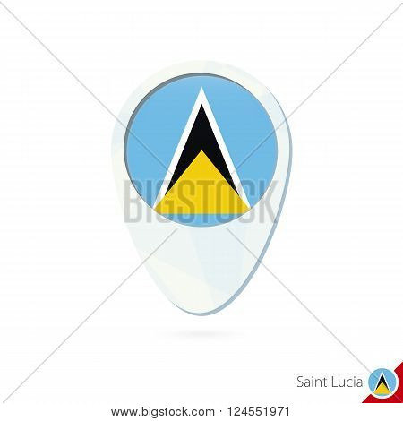 Saint Lucia Flag Location Map Pin Icon On White Background.