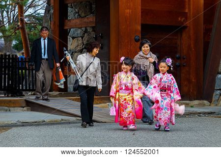 MATSUMOTO JAPAN - NOVEMBER 21 2015: Children at Atsuta shrine in a Traditional rite of passage and festival day in held for 3 and 7-year-old girls and 3 and 5-year-old boys