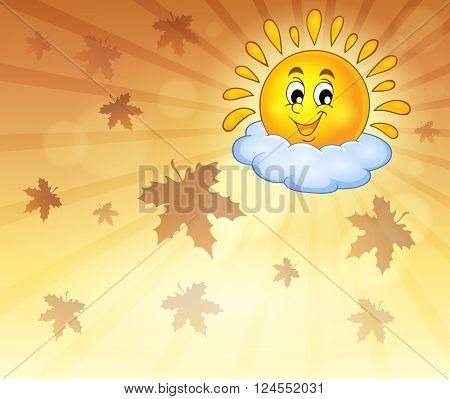 Autumn sky with cheerful sun - eps10 vector illustration.
