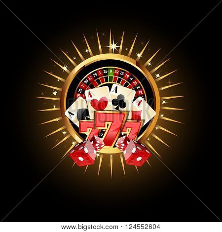 Casino  Composition with Roulette Wheel, Playing Cards ans Dice