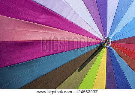 Bright colorful umbrella close-up good for sun-clock