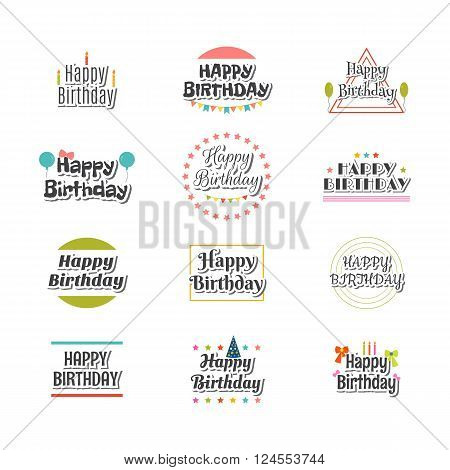 Set Of Happy Birthday Greeting Cards. Cute Postcard