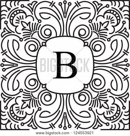 Elegant Style Vector Monogram Design Template With Letter B. Excellent For Logo Design. Vector Illus