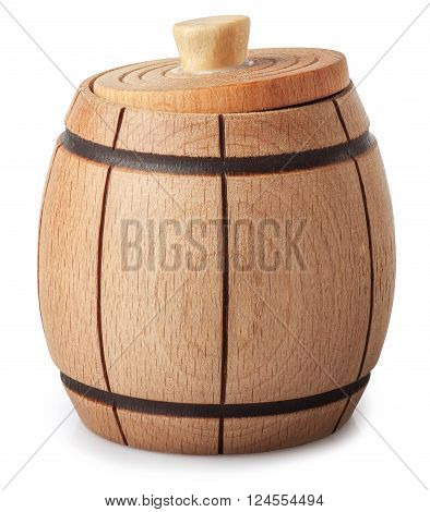 Small wooden barrel with slightly ajar cover isolated on white background closeup with clip path