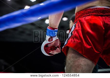 Chelyabinsk, Russia - April 2, 2016: fighter boxer in corner of ring before fight during Championship of mixed fighting single combats